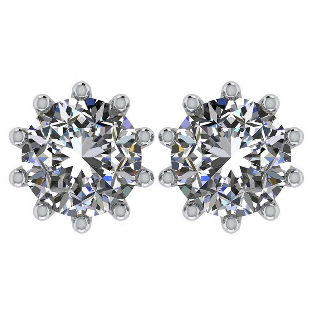 Certitifed 1.60 Ctw Round Diamond 14K White Gold Stud Earrings #PAPPS97123