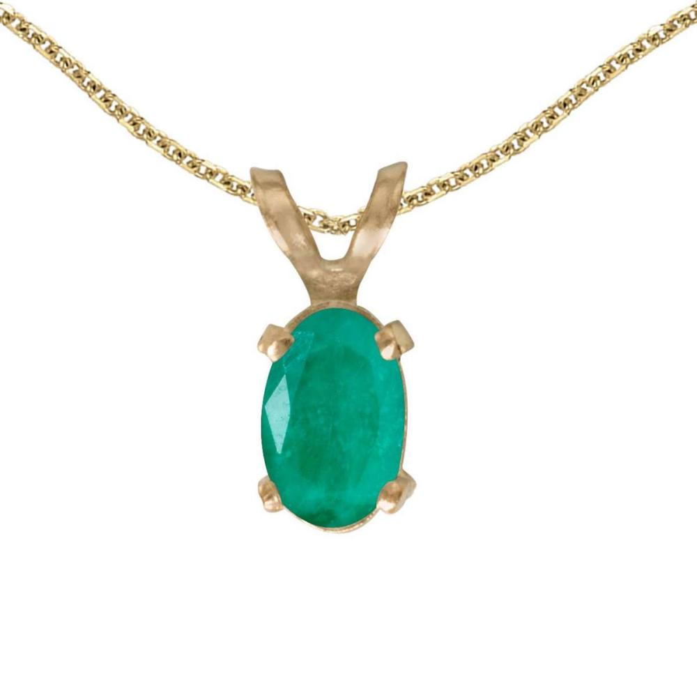 Certified 14k Yellow Gold Oval Emerald Pendant 0.31 CTW #PAPPS25144