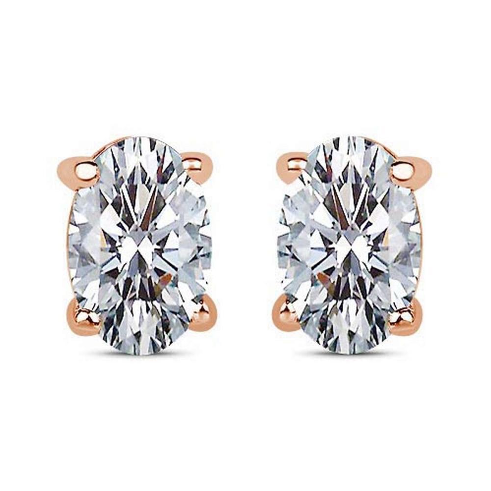 Certified 1.00 CTW Oval Diamond 14K Rose Gold Earring #PAPPS92285