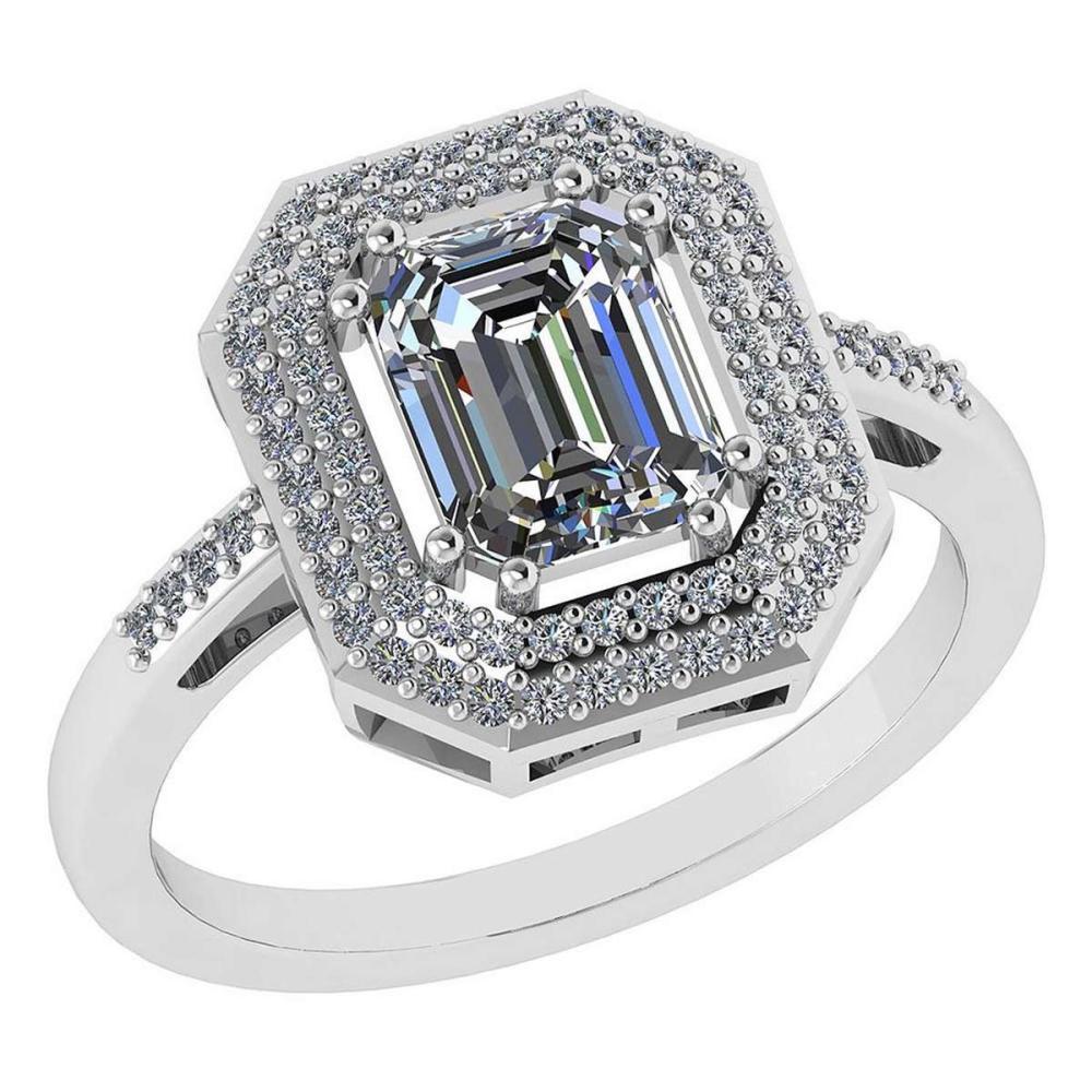 1.12 Ctw Diamond 14k White Gold Halo Ring #PAPPS96020