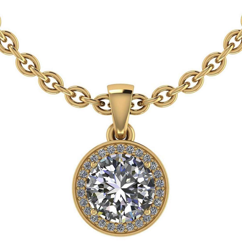 Certified 1.15 CTW Round Diamond 14K Yellow Gold Pendant #PAPPS92307