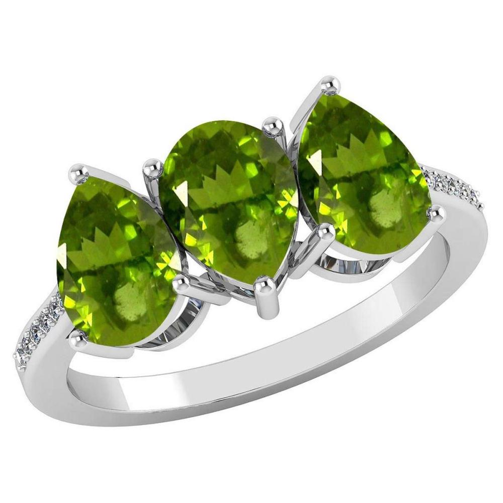 Certified 3.81 CTW Peridot And Diamond 14k White Gold Halo Ring #PAPPS95067
