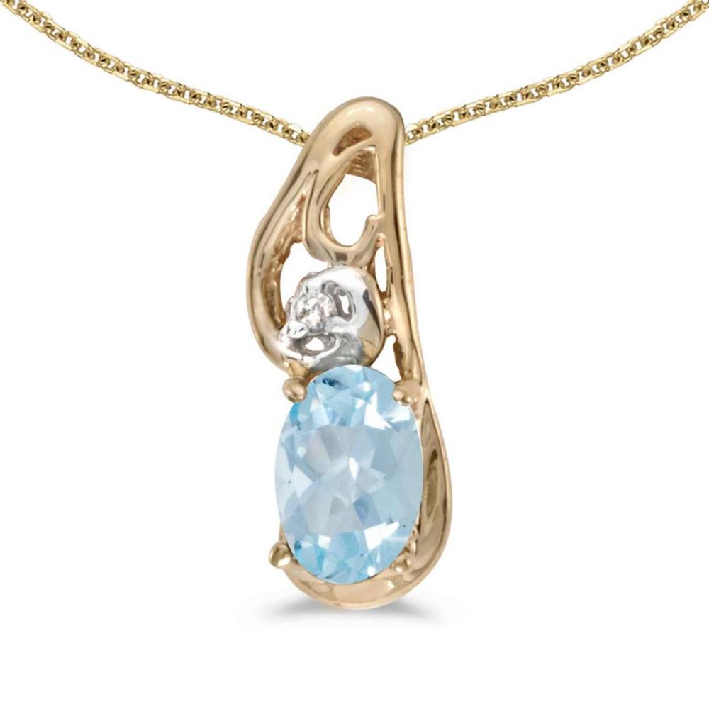 Certified 14k Yellow Gold Oval Aquamarine And Diamond Pendant 0.3 CTW #PAPPS25079