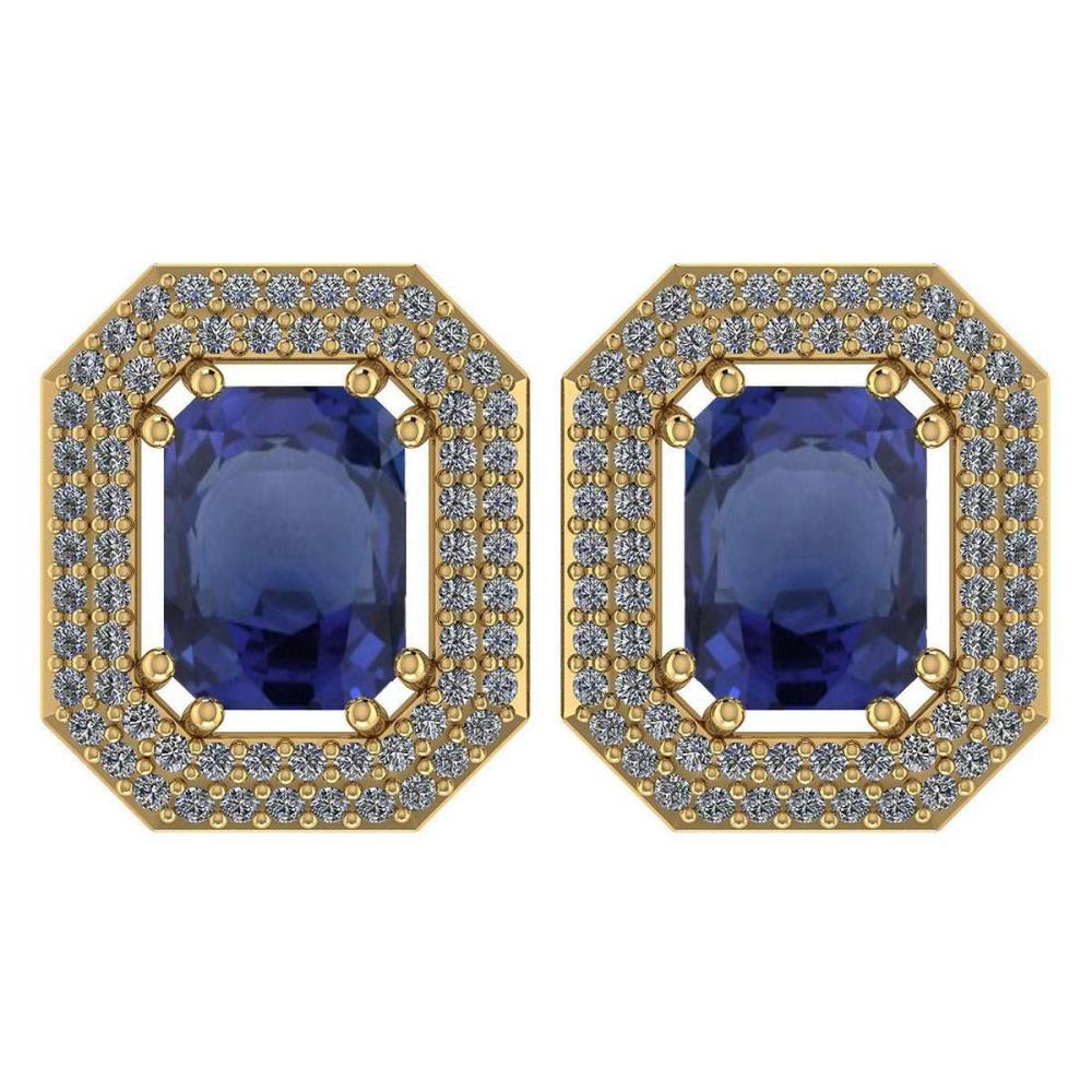 Certified 3.71 Ctw Bule Sapphire And Diamond 14k Yellow Gold Halo Stud Earrings #PAPPS95245