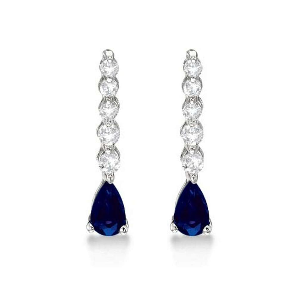 Pear Sapphire and Diamond Graduated Drop Earrings 14k White Gold (0.80ctw) #PAPPS20919