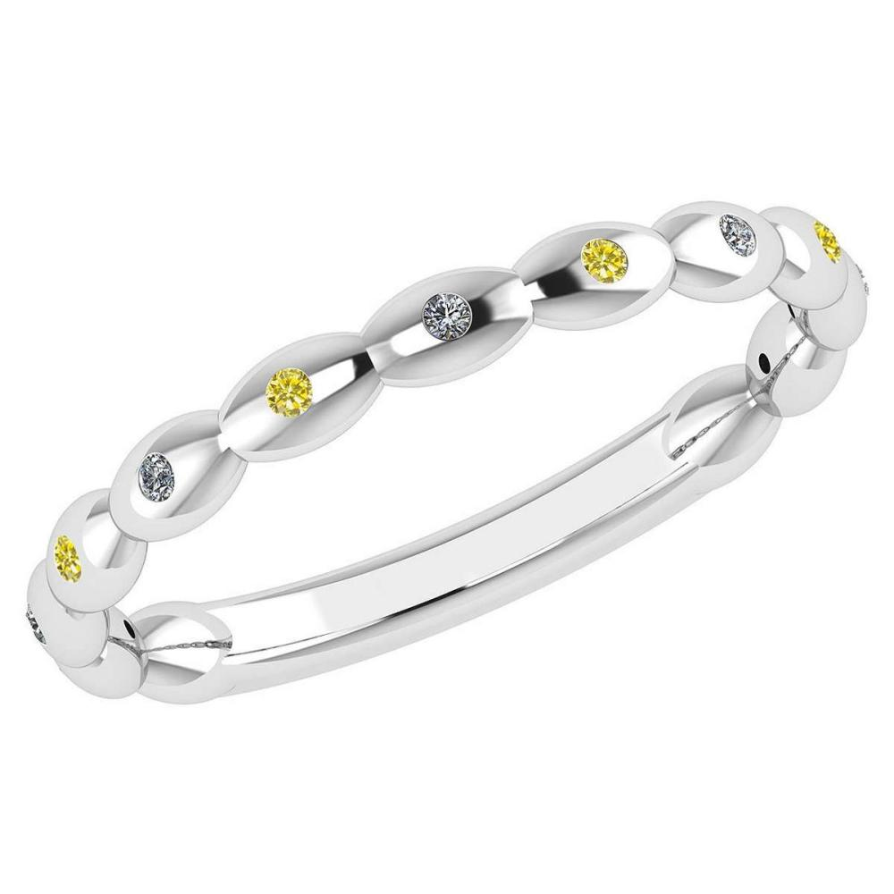 Certified 0.05 Ctw Fancy Yellow Diamond 14k White Gold Promise Band #PAPPS16197