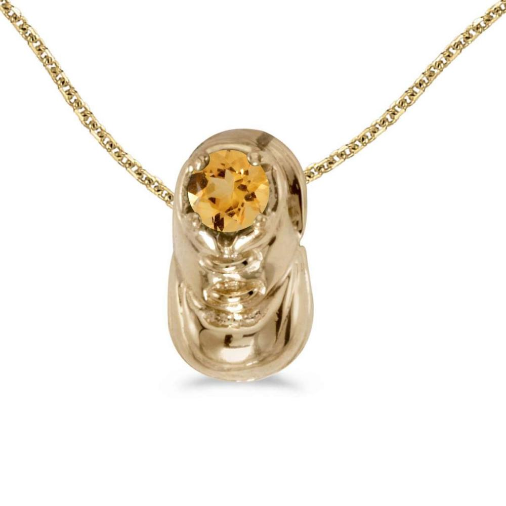 Certified 10k Yellow Gold Round Citrine Baby Bootie Pendant 0.18 CTW #PAPPS25088