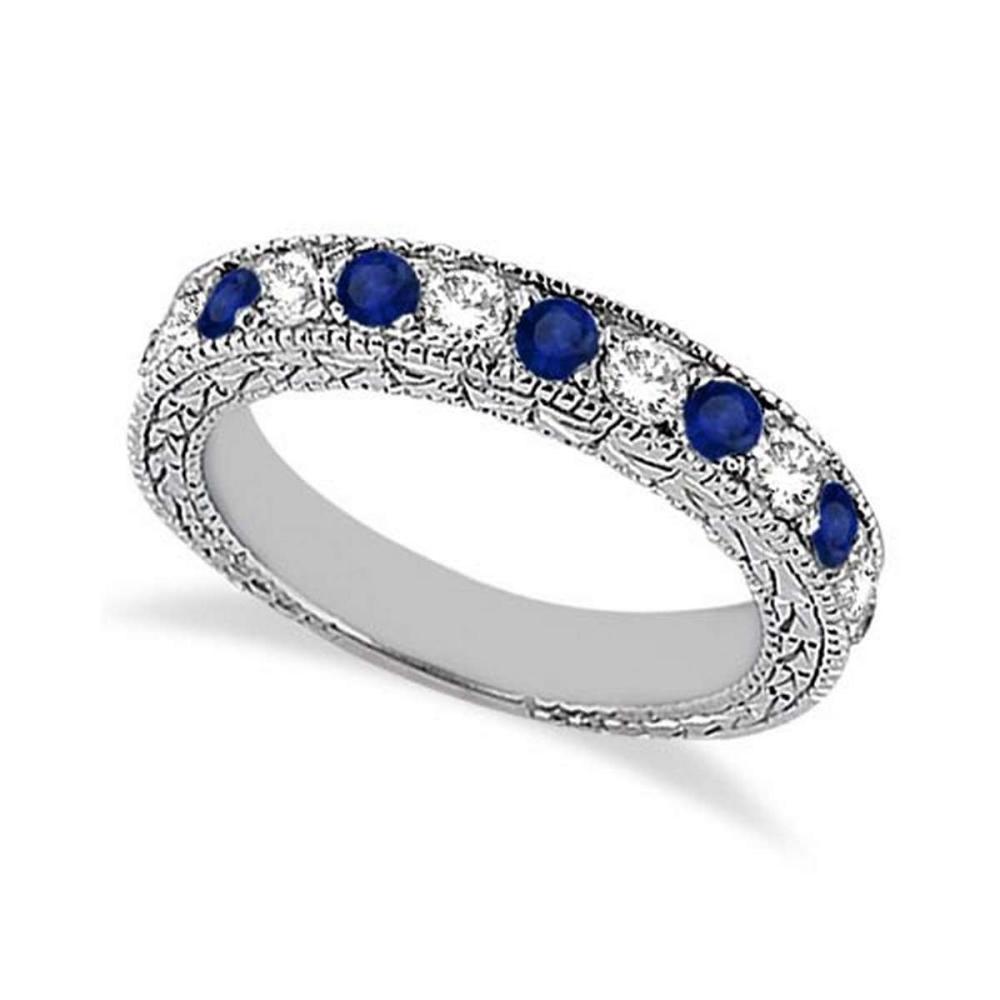 Antique Diamond and Blue Sapphire Wedding Ring Platinum (1.05ct) #PAPPS21265