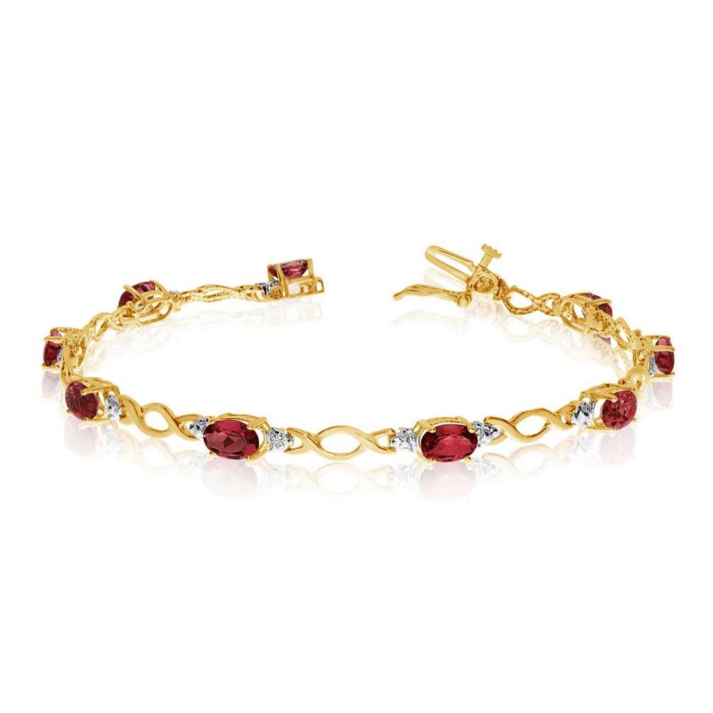 Certified 14K Yellow Gold Oval Garnet and Diamond Bracelet 4.73 CTW #PAPPS25416