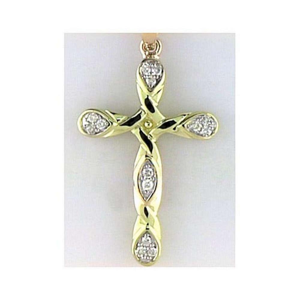 Certified 14K Yellow Gold Diamond Cross Pendant 0.1 CTW #PAPPS25076