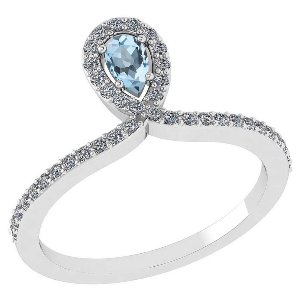 Certified 0.57 Ctw Aquamarine And Diamond 14k White Gold Halo Ring #PAPPS95517