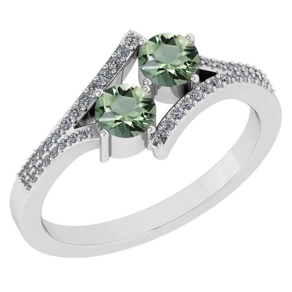 Certified 1.06 Ctw Genuine Green Amethyst And Diamond 14k White Gold Engagement Ring #PAPPS94664
