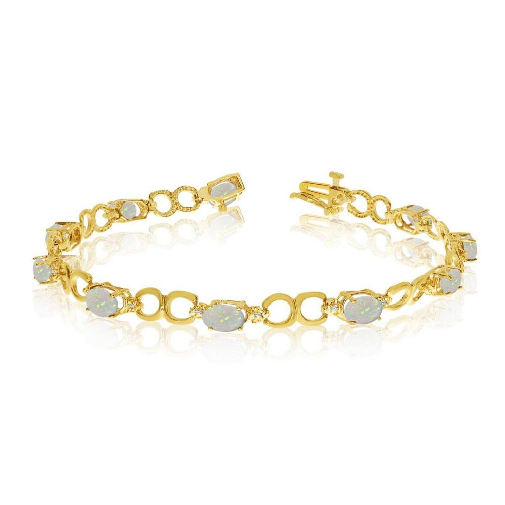 Certified 14K Yellow Gold Oval Opal and Diamond Bracelet 1.93 CTW #PAPPS25433