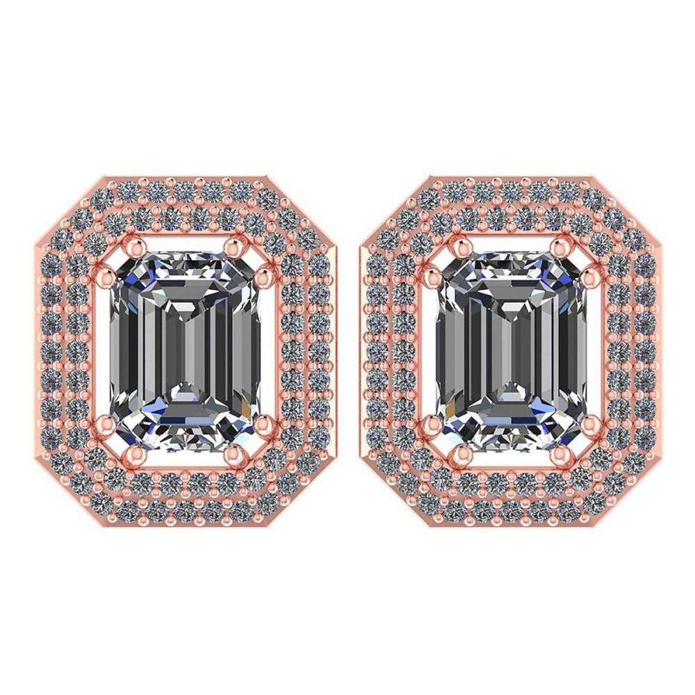 3.71 Ctw Diamond 14k Rose Gold Halo Stud Earrings VS/SI2 #PAPPS96018