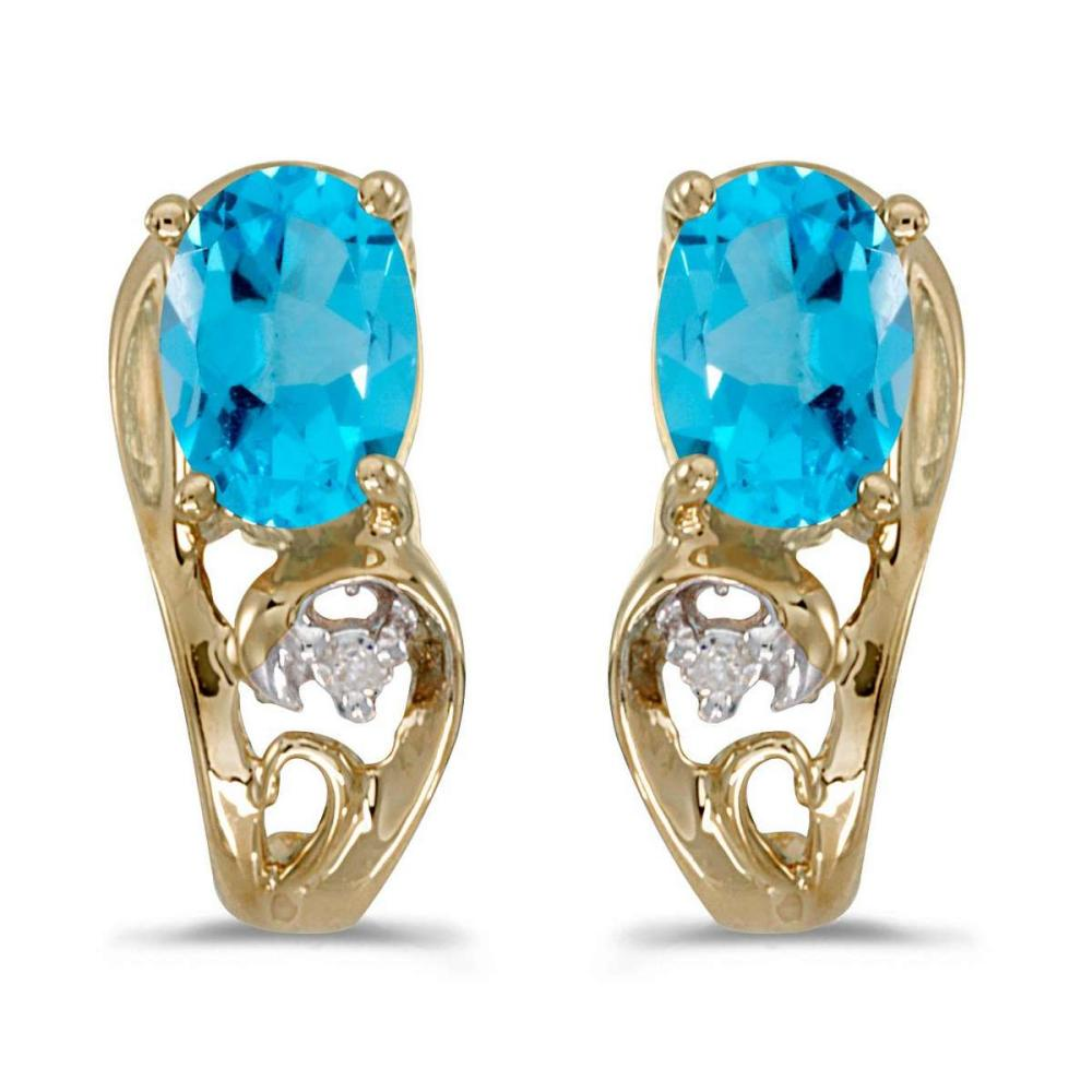Certified 10k Yellow Gold Oval Blue Topaz And Diamond Earrings 0.81 CTW #PAPPS25364