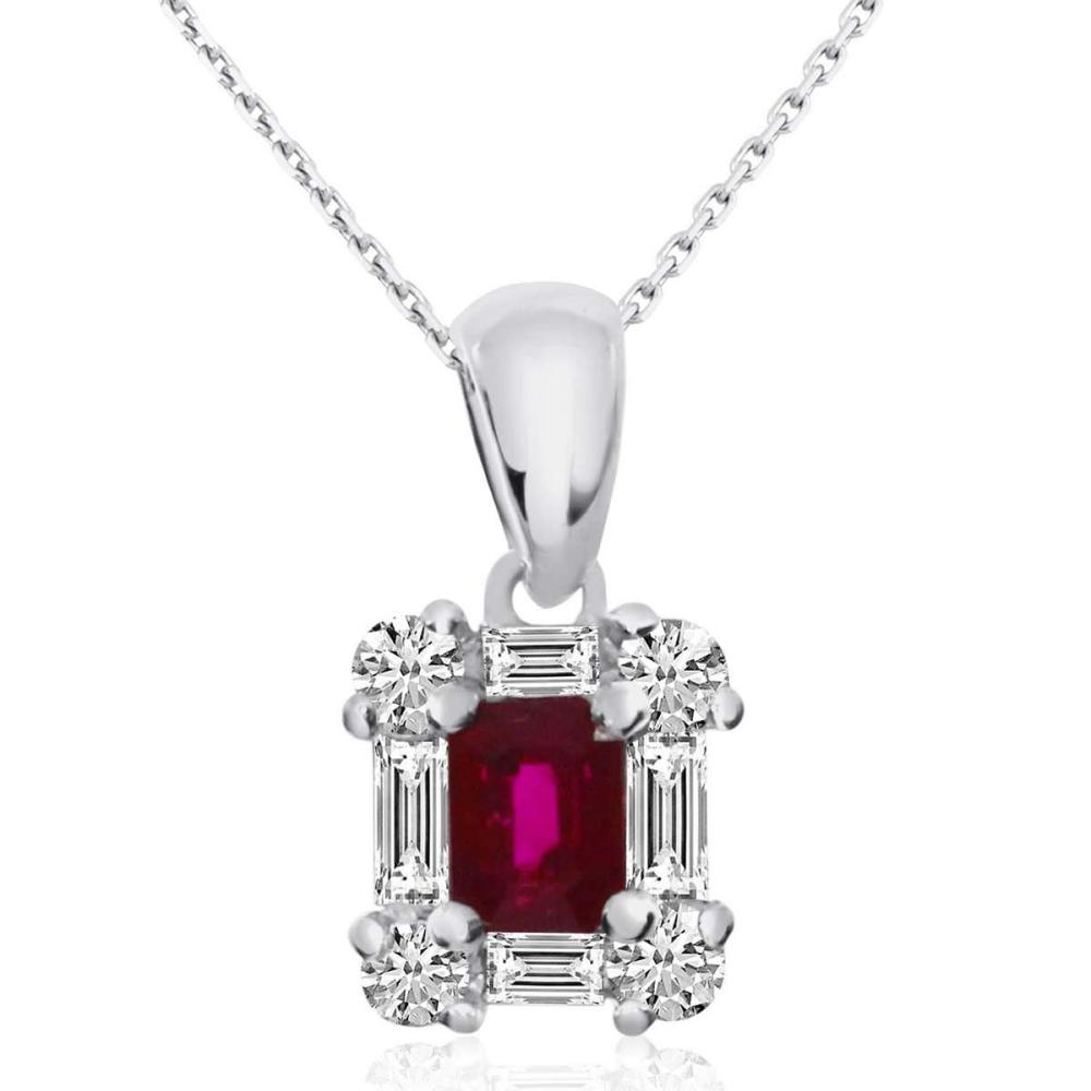 Certified 14k White Gold Ruby and Diamond Baguette Pendant 0.49 CTW #PAPPS25377