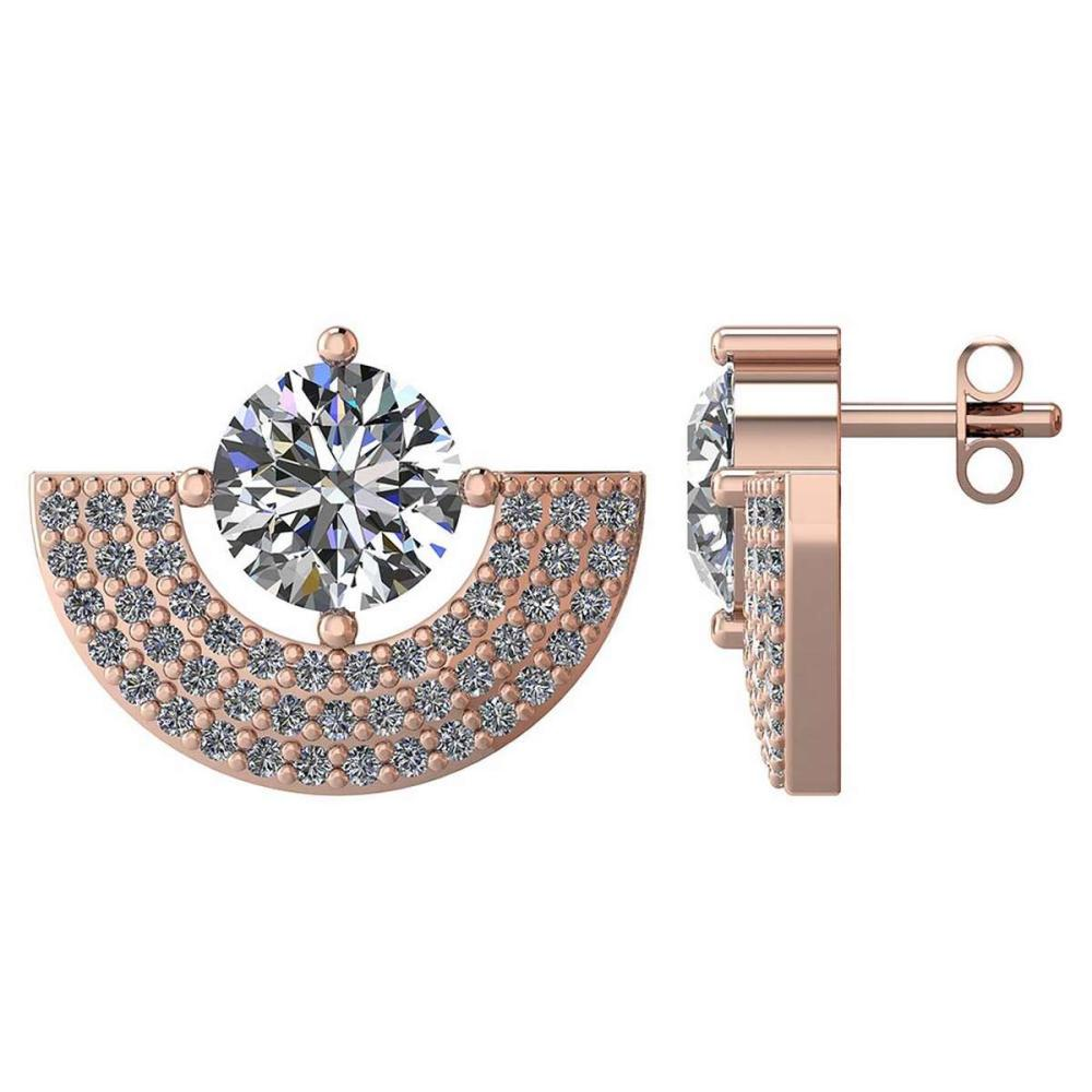 Certified 2.00 CTW Round Diamond 14K Rose Gold Earring #PAPPS92297