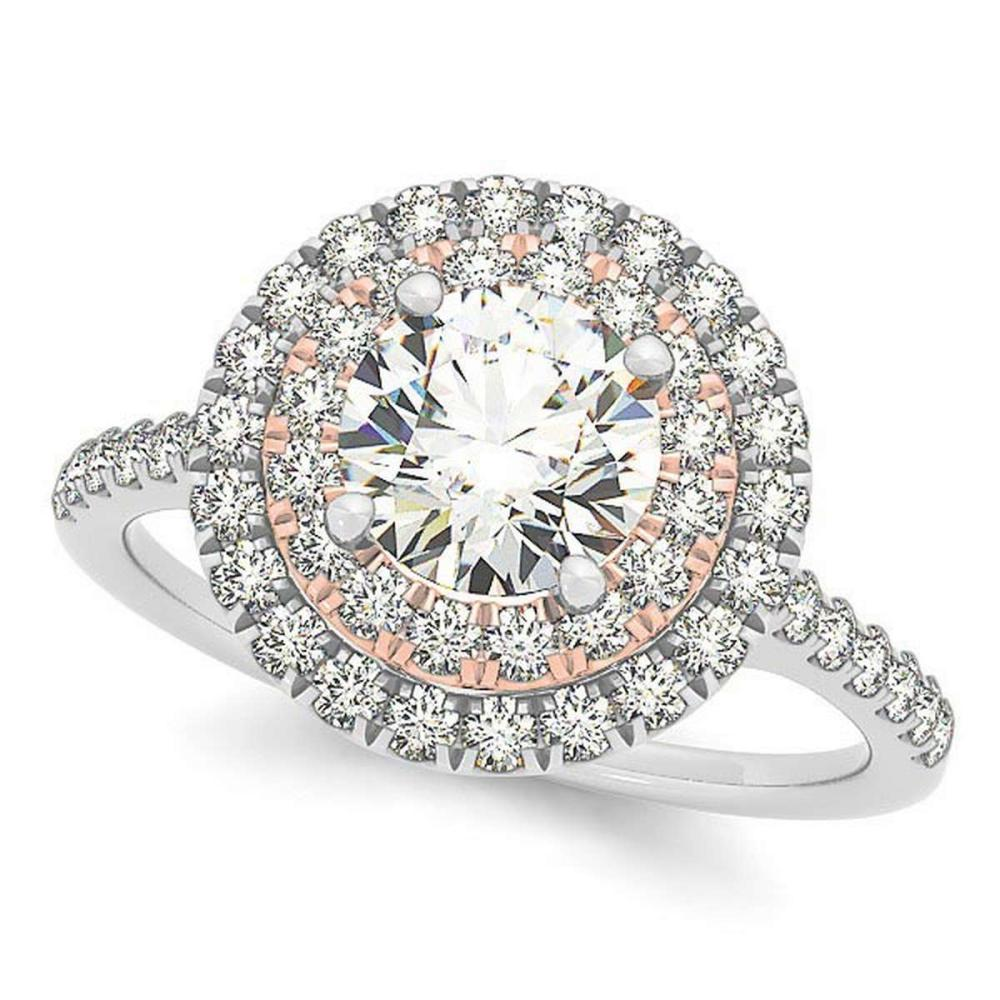 Double Halo Round Diamond Engagement Ring 14k Two Tone Gold (1.38ct) #PAPPS20490
