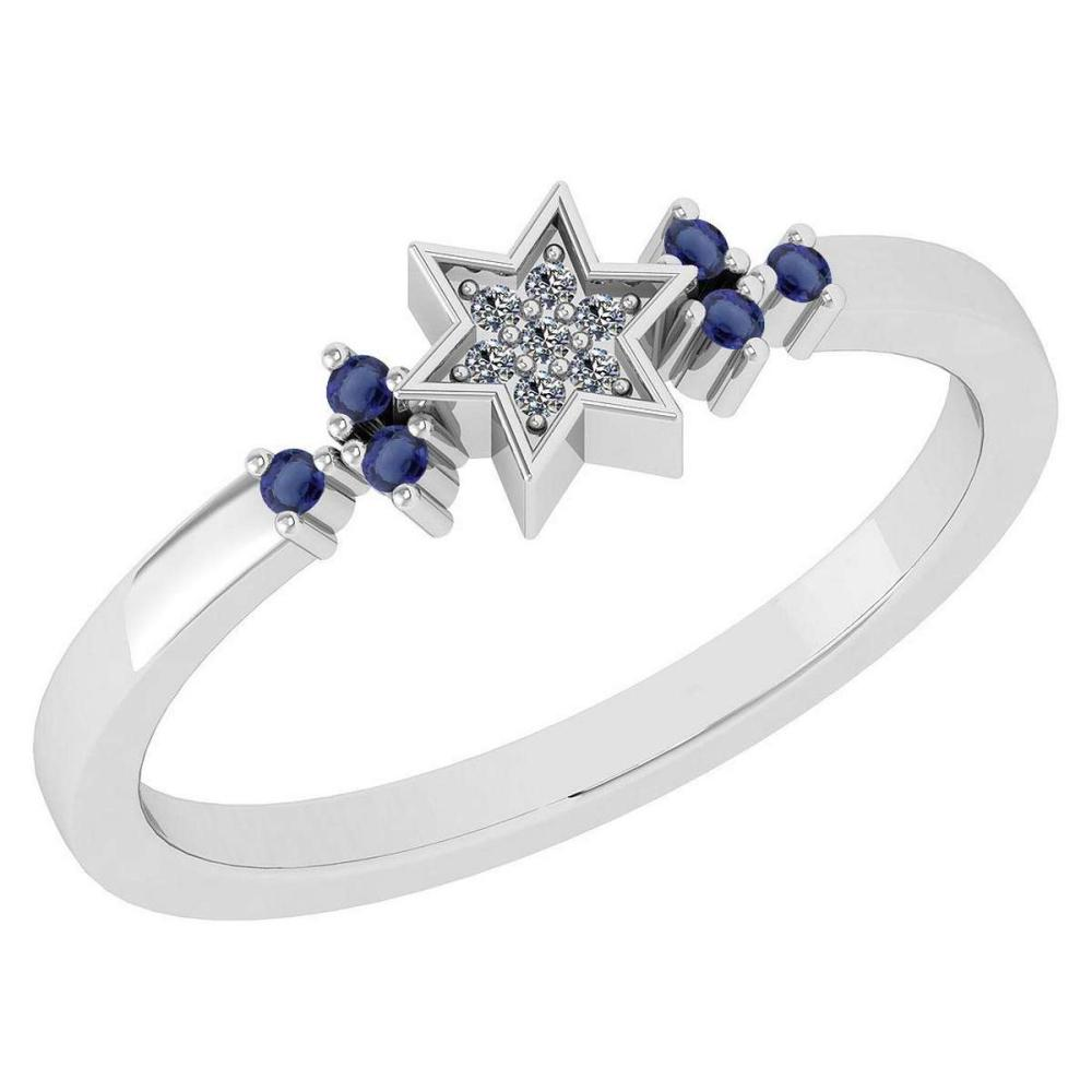 Certified 0.10 Ctw Blue Sapphire And Diamond 14k White Gold Halo Ring #PAPPS95103