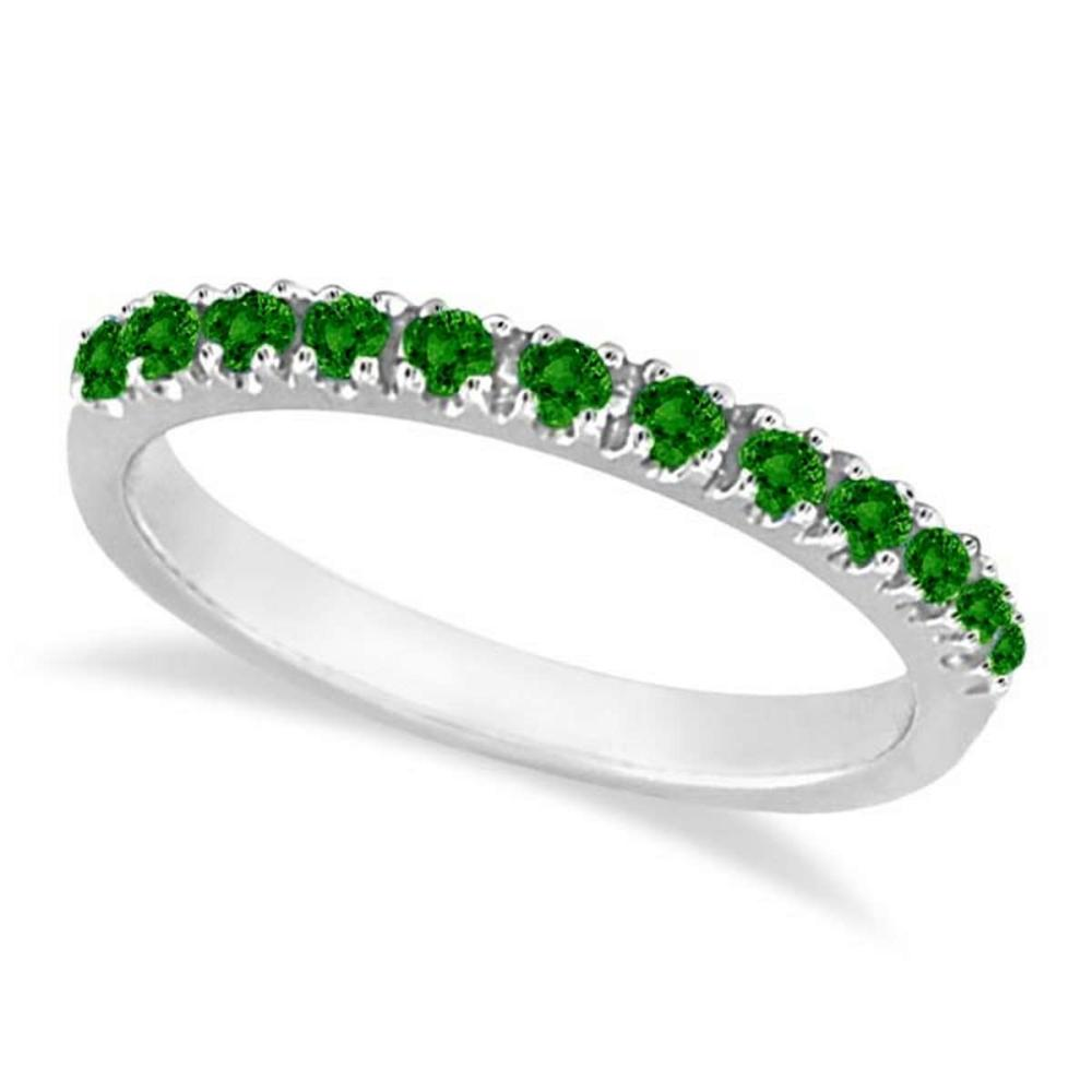 Emerald Semi-Eternity Band Stackable Ring in 14K White Gold (0.38 ct) #PAPPS20542