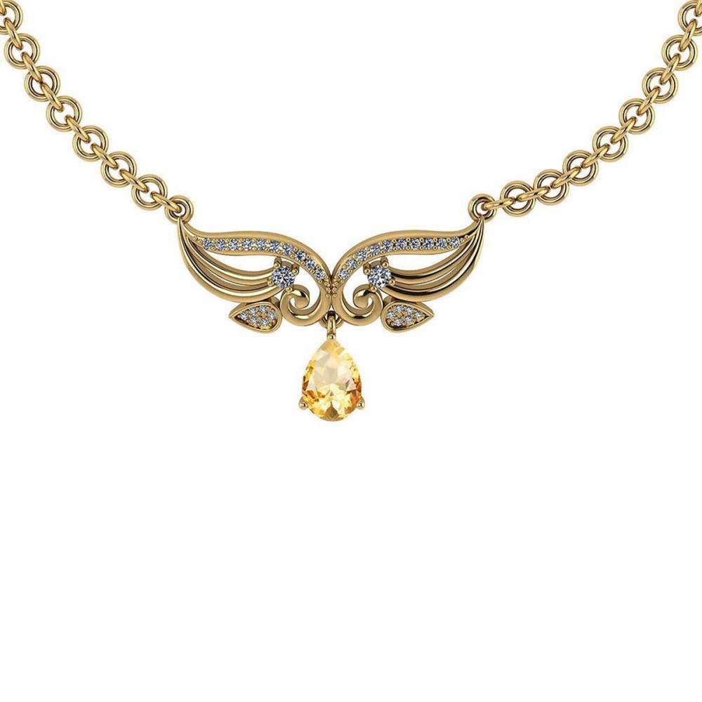 Certified 3.94 Ctw Genuine Citrine And Diamond 14k Yellow Princess Necklace #PAPPS94597