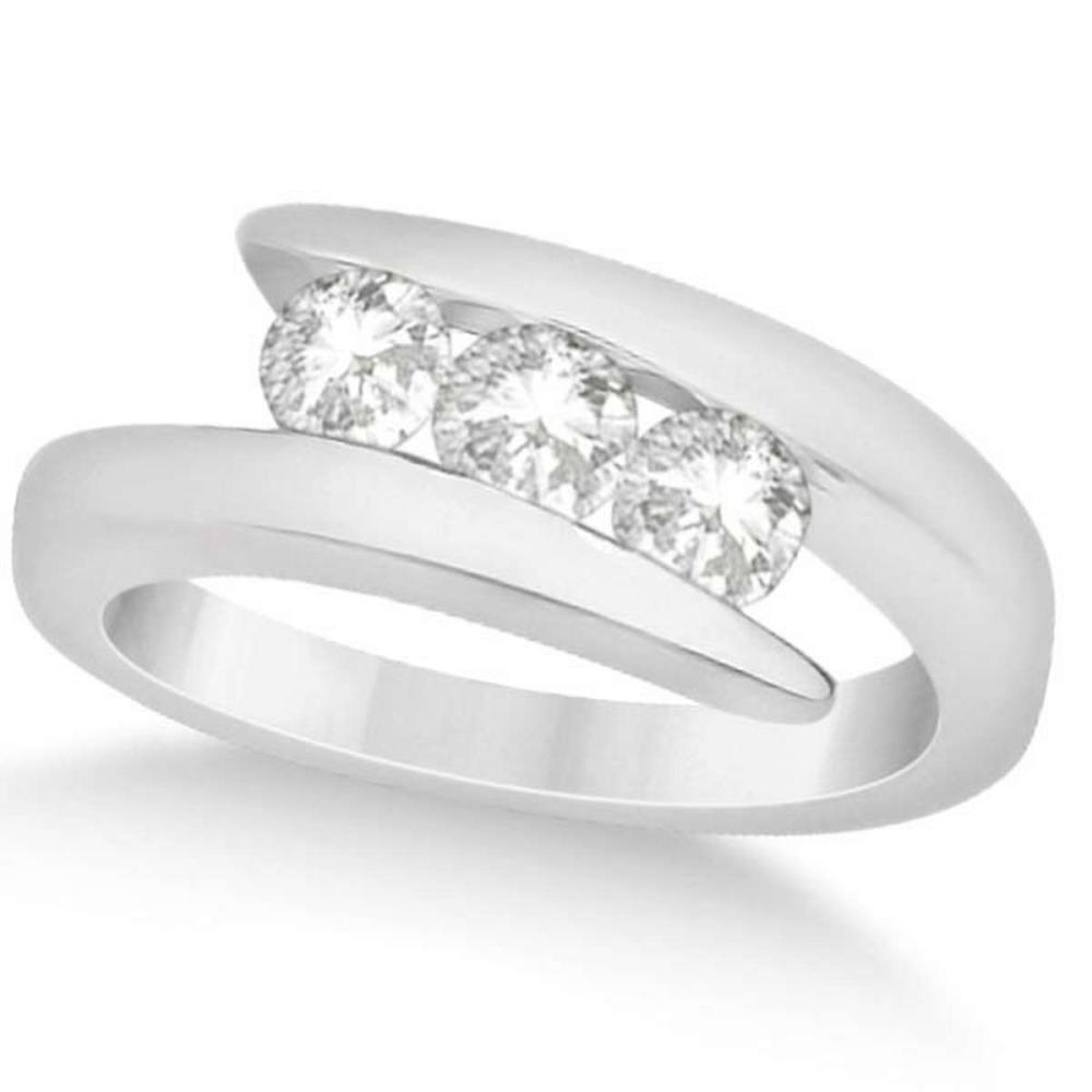 Three Stone Diamond Journey Ring Tension Set 14K White Gold 0.60ctw #PAPPS20904