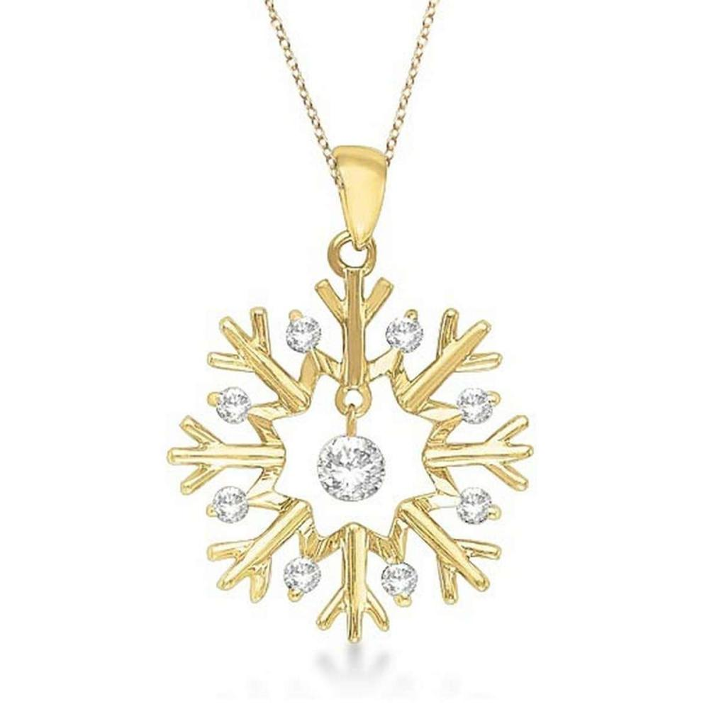 Snowflake Shaped Diamond Pendant Necklace 14k Yellow Gold (0.20ct) #PAPPS20910
