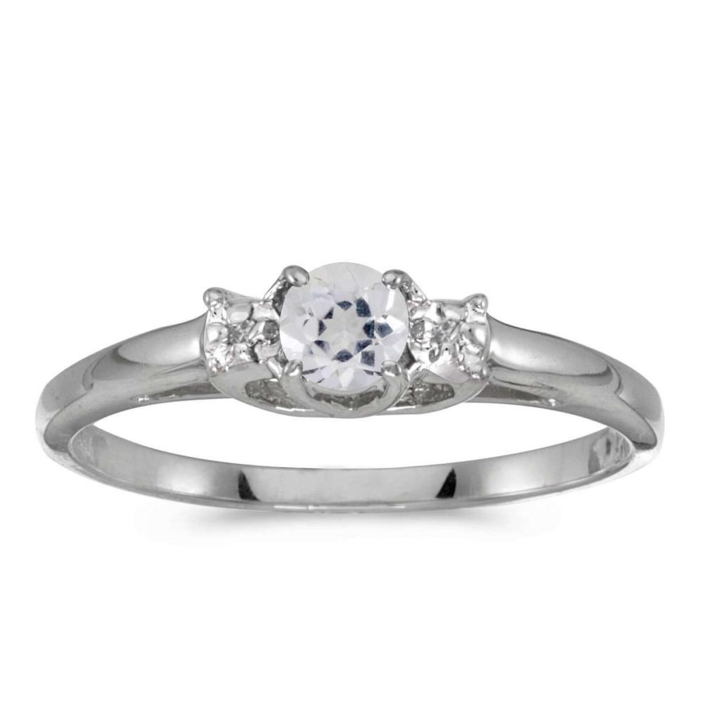 Certified 10k White Gold Round White Topaz And Diamond Ring 0.29 CTW #PAPPS25593