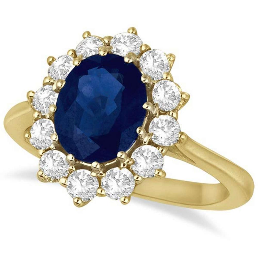 Oval Blue Sapphire and Diamond Accented Ring 14k Yellow Gold (3.60ctw) #PAPPS20500