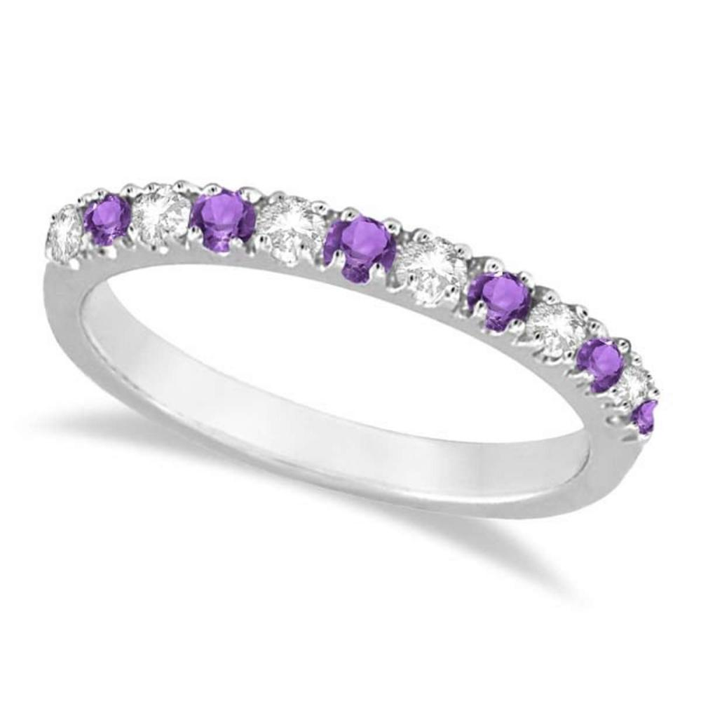 Diamond and Amethyst Ring Guard Stackable Band 14k White Gold (0.32ct) #PAPPS20531