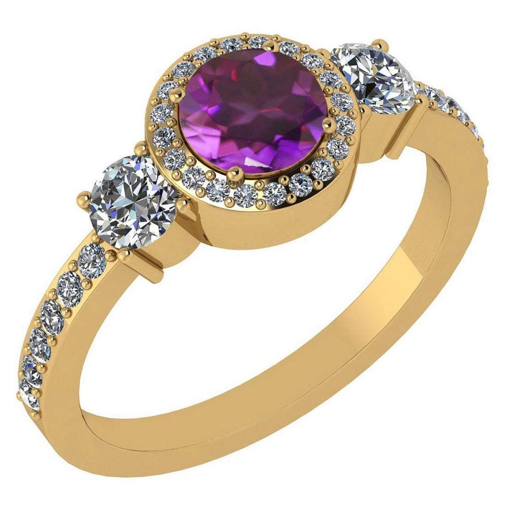 Certified 1.51 Ctw Amethyst And Diamond 14k Yellow Gold Halo Ring #PAPPS95173
