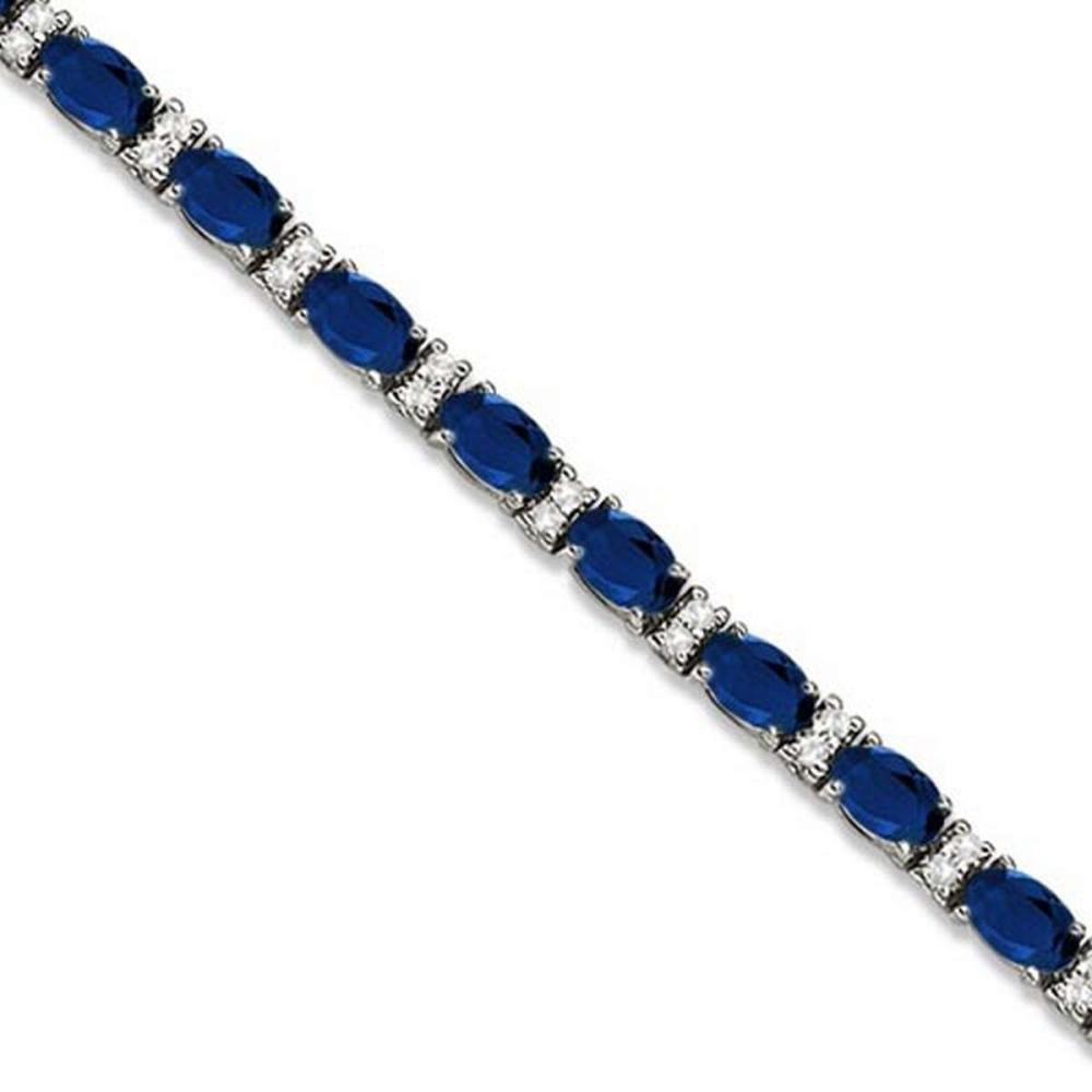 Diamond and Oval Cut Sapphire Tennis Bracelet 14k White Gold (9.25ctw) #PAPPS20549