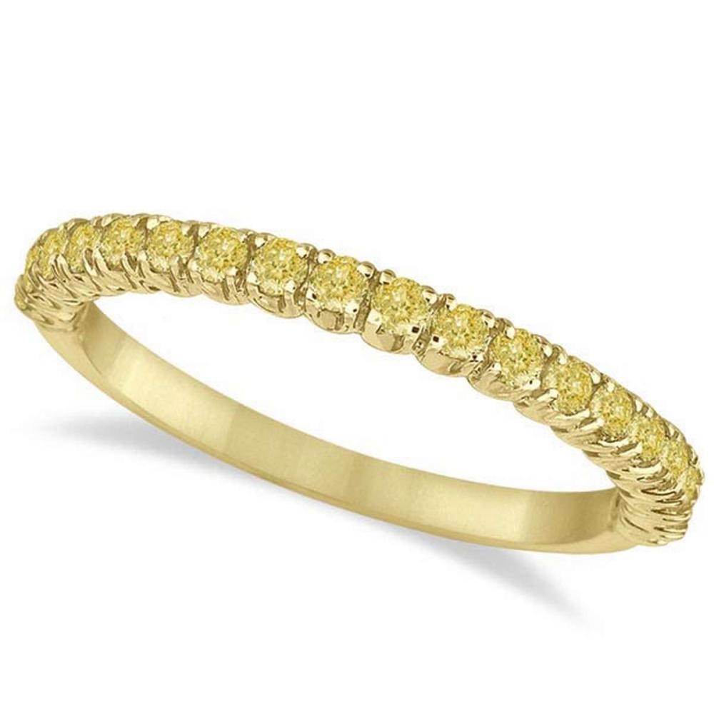 Half-Eternity Pave Thin Yellow Diamond Ring 14k Yellow Gold (0.50ct) #PAPPS20948