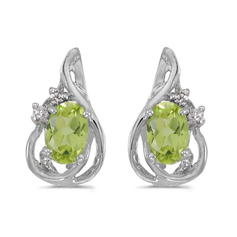 Certified 10k White Gold Oval Peridot And Diamond Teardrop Earrings 0.84 CTW #PAPPS25354