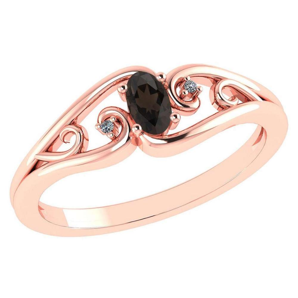 Certified 0.22 Ctw Smoky Quarzt And Diamond 14k Rose Gold Simple Ring #PAPPS95556