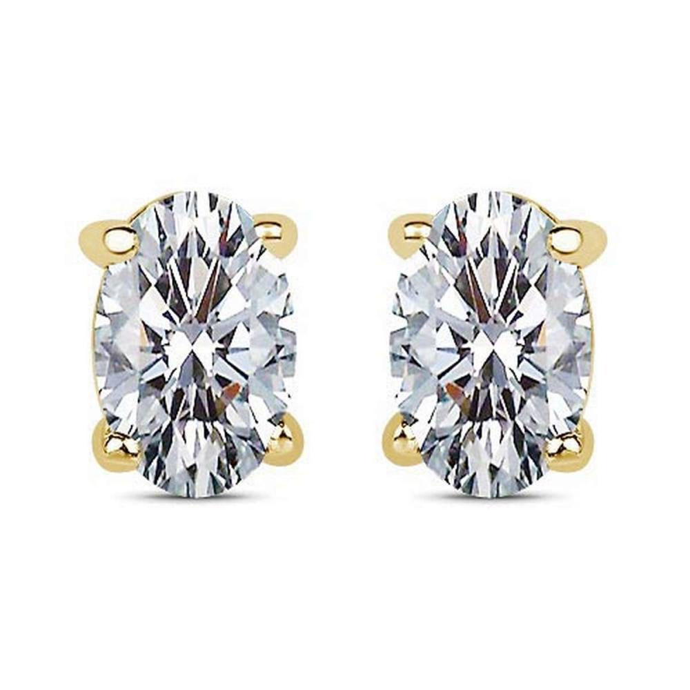 Certified 1.00 CTW Oval Diamond 14K Yellow Gold Earring #PAPPS92286