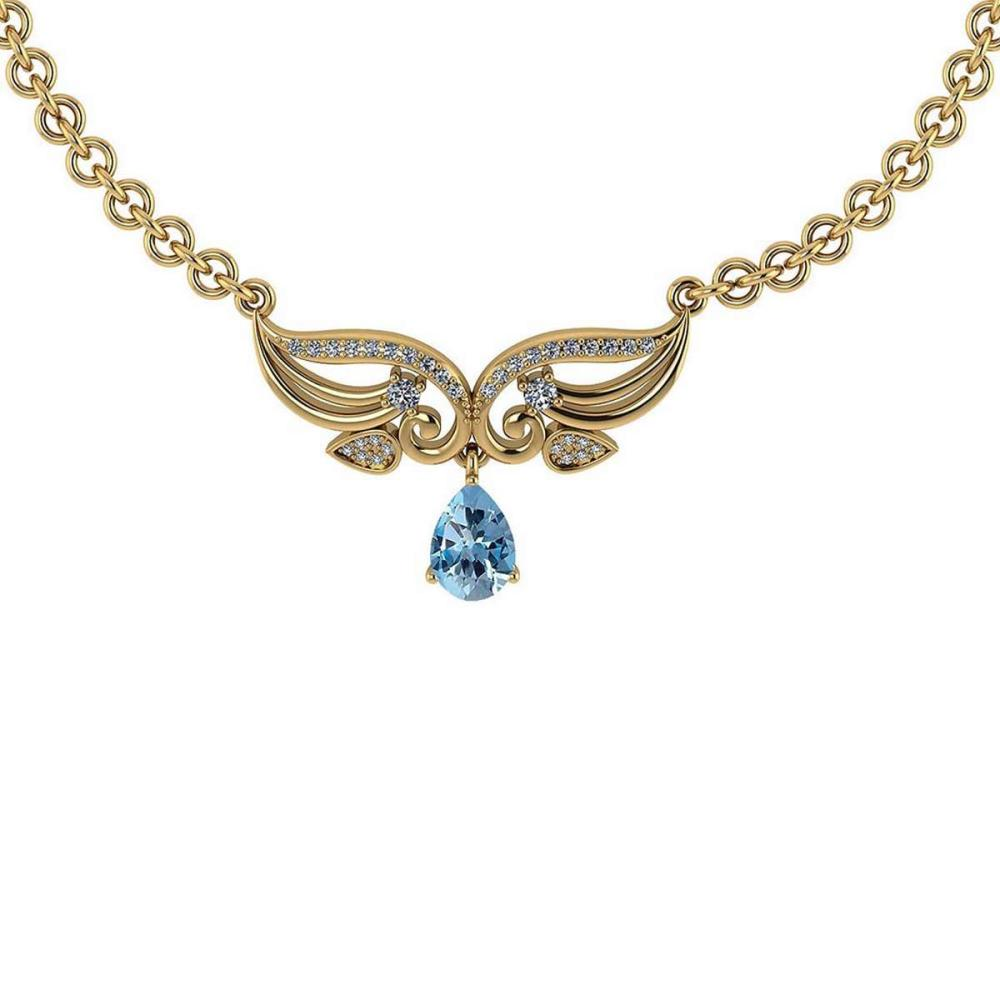 Certified 3.94 Ctw Genuine Blue Topaz And Diamond 14k Yellow Princess Necklace #PAPPS94595