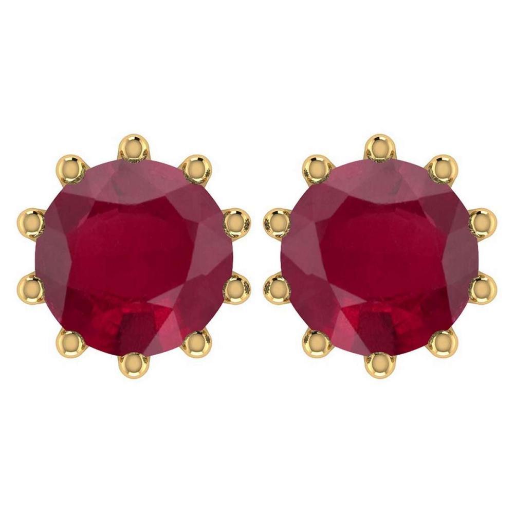 Certitifed 1.60 Ctw Genuine Ruby 14K Yellow Gold Stud Earrings #PAPPS97102