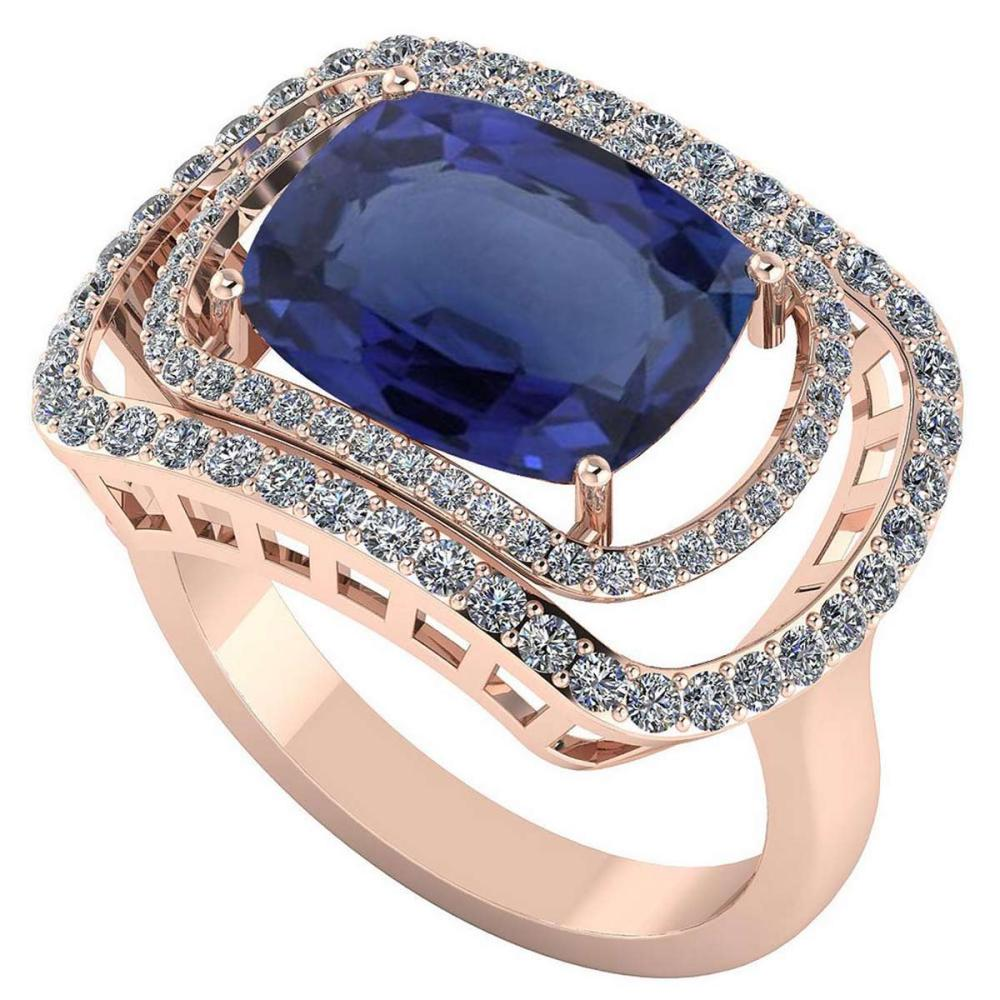 Certified 3.84 CTW Genuine Blue Sapphire And Diamond 14K Rose Gold Ring #PAPPS91805
