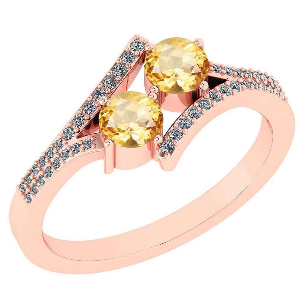 Certified 1.06 Ctw Genuine Citrine And Diamond 14k Rose Gold Engagement Ring #PAPPS94688