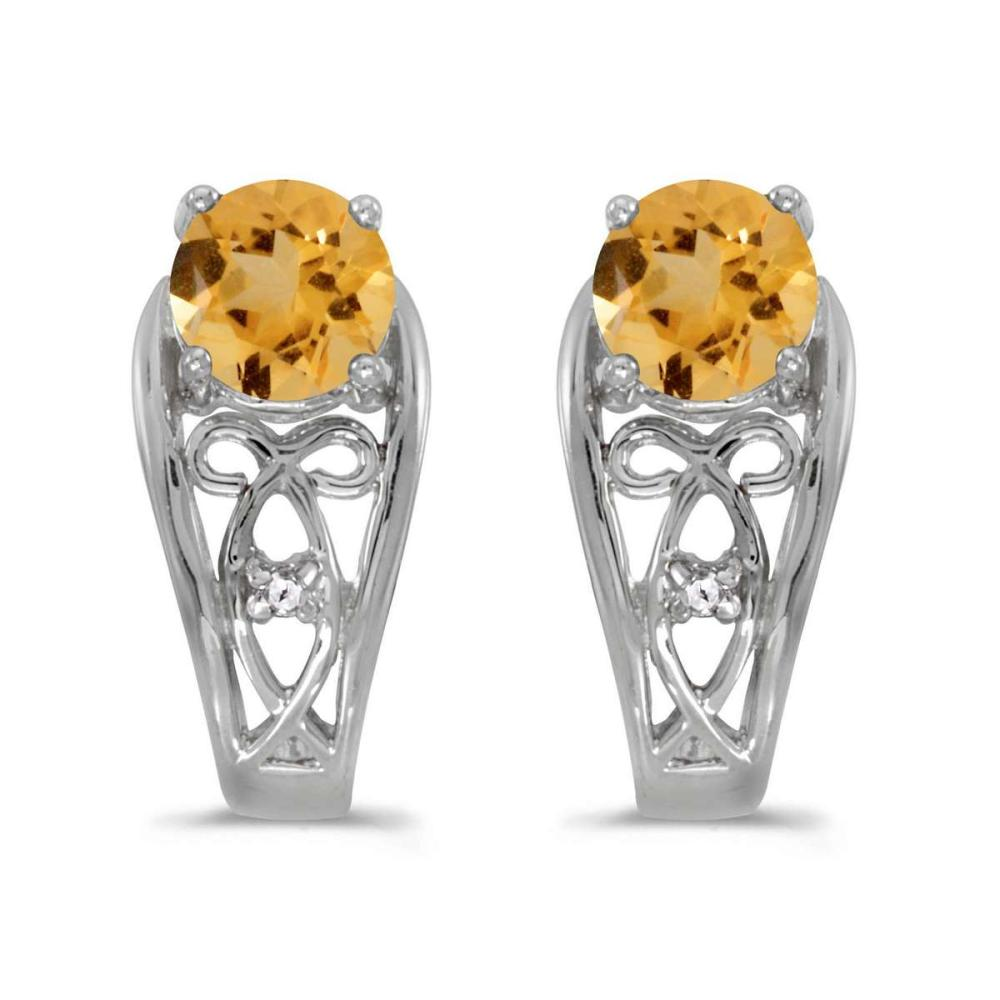 Certified 14k White Gold Round Citrine And Diamond Earrings 0.67 CTW #PAPPS25056