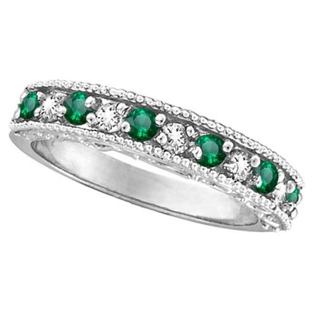 Emerald and Diamond Ring Anniversary Band 14k White Gold (0.30ct) #PAPPS20530