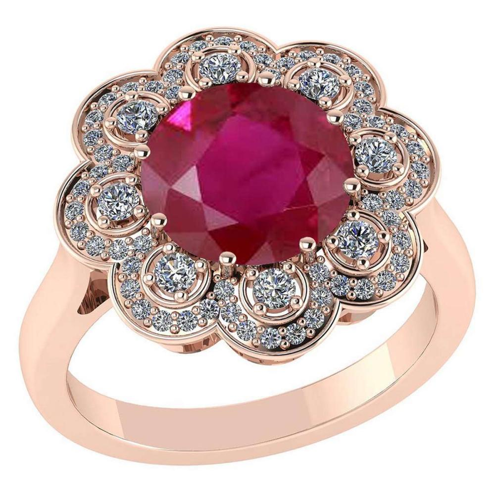 Certified 4.42 CTW Genuine Ruby And Diamond 14K Rose Gold Ring #PAPPS92347