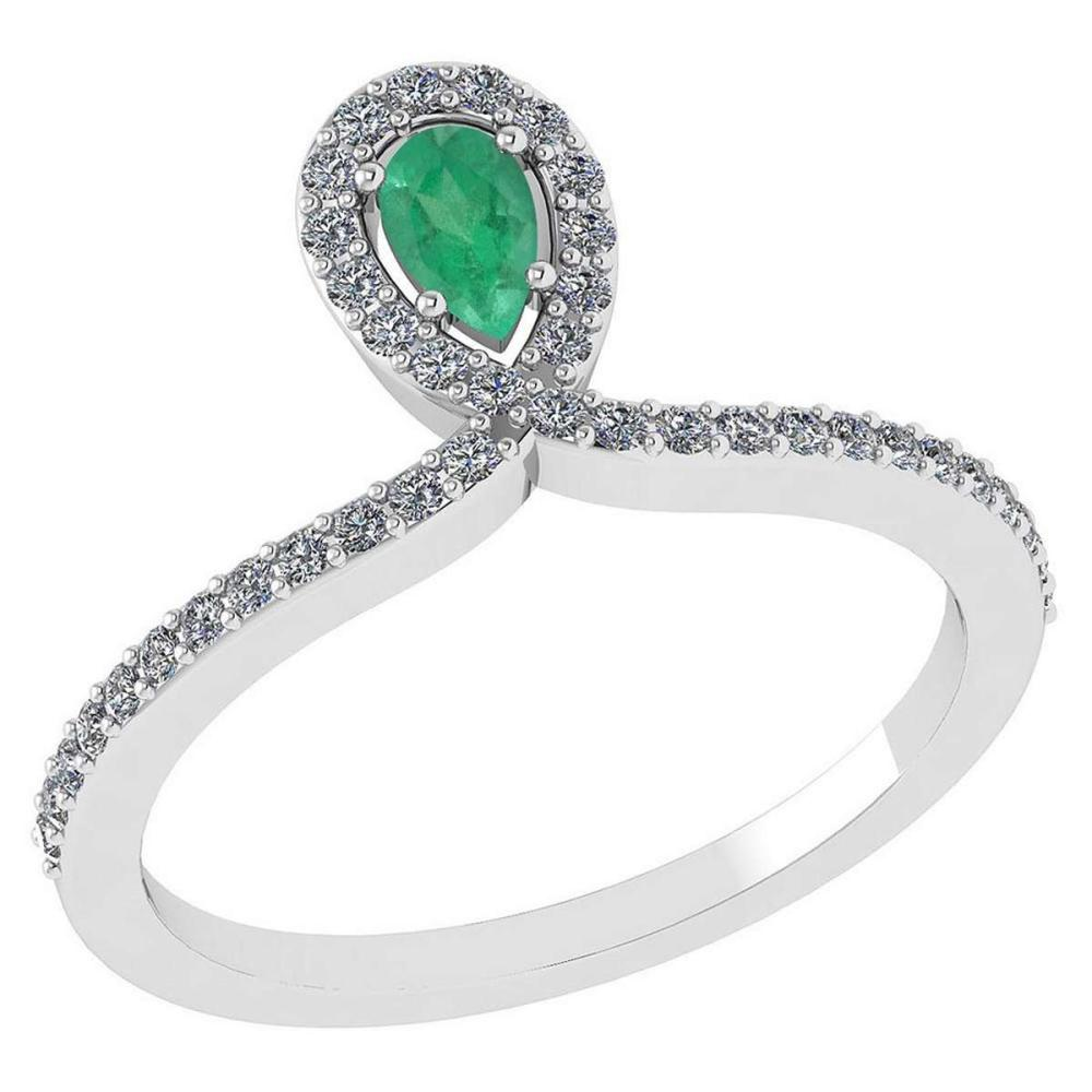 Certified 0.57 Ctw Emerald And Diamond 14k White Gold Halo Ring #PAPPS95516