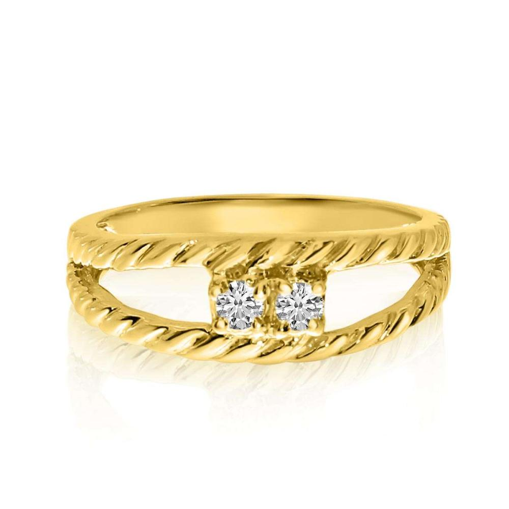 Certified 14K Yellow Gold Braided Two-Stone Diamond Ring 0.12 CTW #PAPPS25436