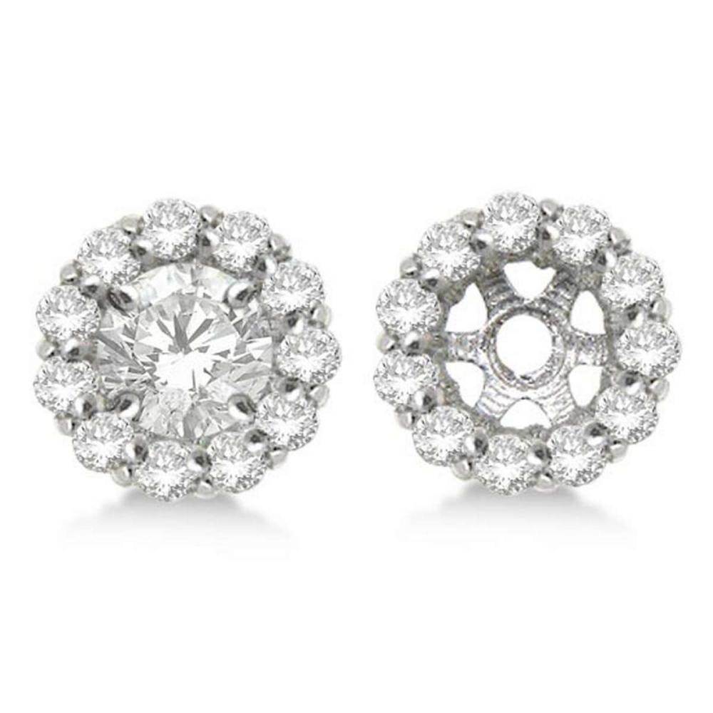 Round Diamond Earring Jackets for 6mm Studs 14K White Gold (0.80ct) #PAPPS20550