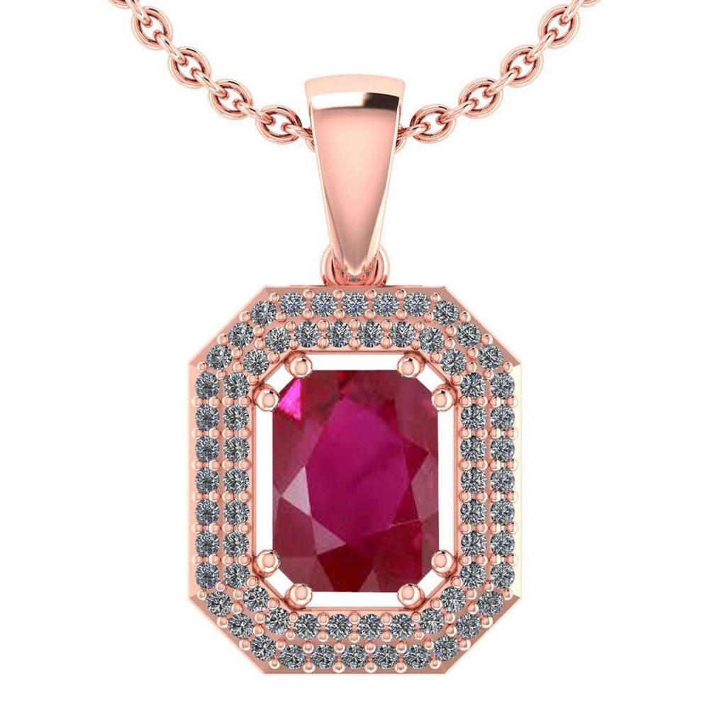 Certified 2.8 Ctw Ruby And Diamond 14k Rose Gold Halo Pendant VS-SI1 #PAPPS95225