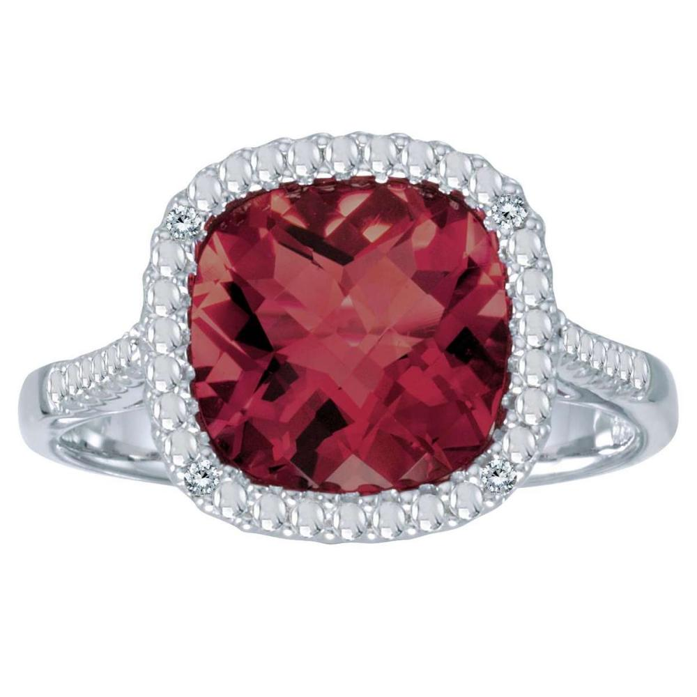 Certified 14k White Gold Cushion Cut Garnet And Diamond Ring 3.09 CTW #PAPPS25444