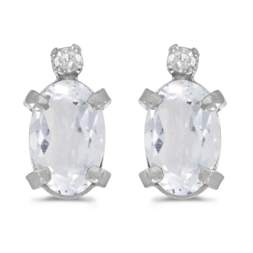 Certified Sterling Silver Oval White Topaz and Diamond Earrings 0.9 CTW #PAPPS25138