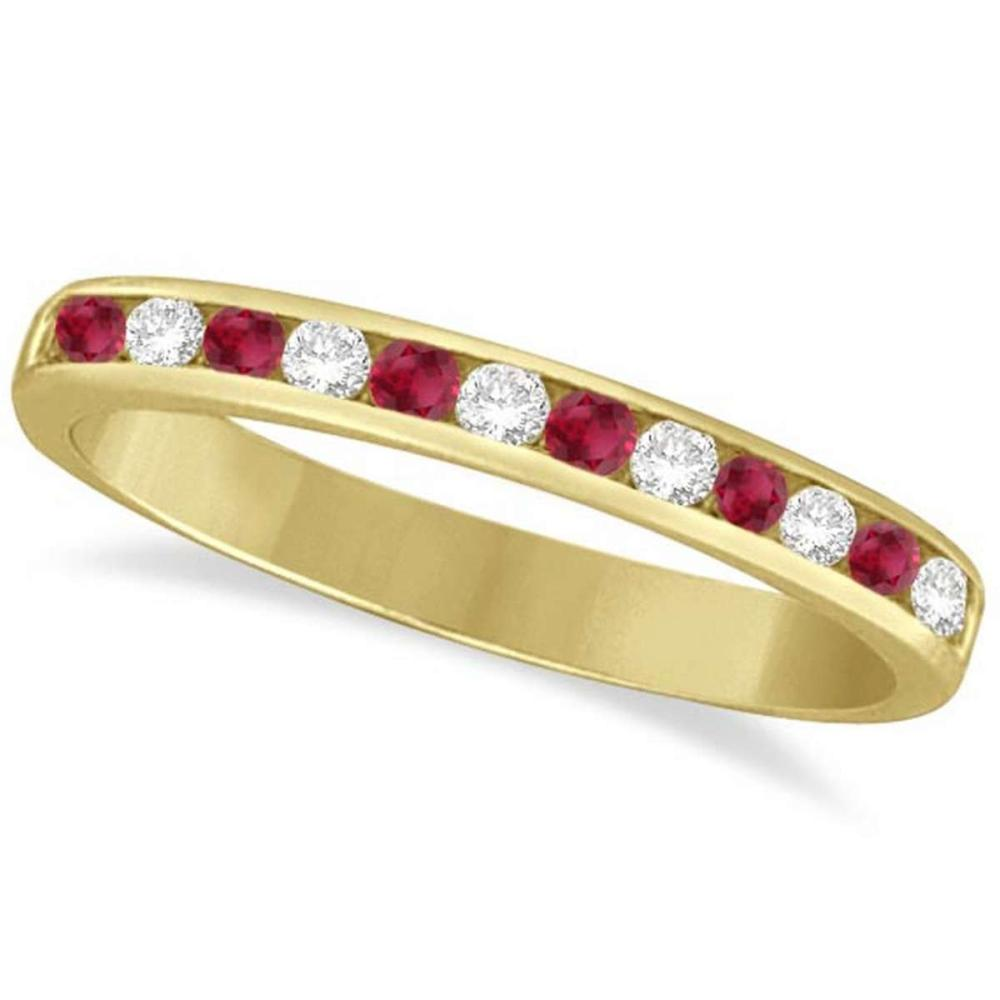 Ruby and Diamond Semi-Eternity Channel Ring 14k Yellow Gold (0.40ct) #PAPPS20964